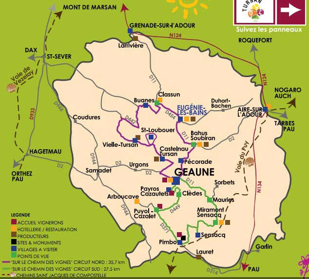 Escapade thermale, carte route des vins